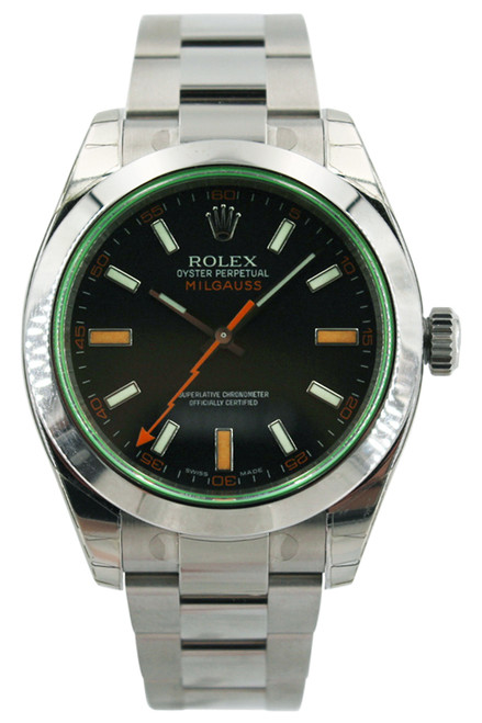 Rolex Stainless Steel Milgauss - 40mm - Black Dial - Green Crystal - Ref. 116400