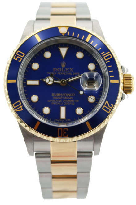 Rolex Two Tone Submariner Date - 40mm - Blue Bezel - Blue Dial - Ref. 16613