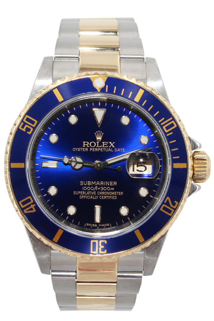 Rolex Two Tone Submariner Date - 40mm - Blue Dial - Blue Bezel - Ref. 16613 Stock# 12384