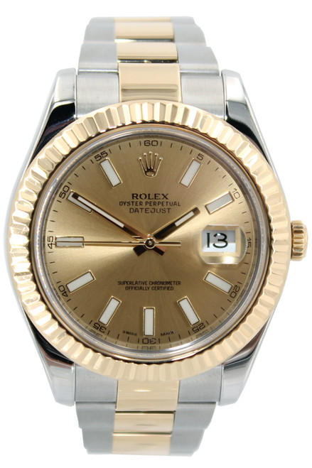 Rolex Two Tone Datejust II - 41mm - Champagne Index Dial -Fluted Bezel - REf. 116333