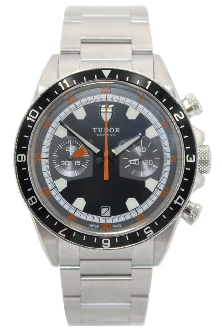 Tudor Stainless Steel Heritage Chronograph - 42mm - Black-Grey Dial - Ref.  70330N-95740