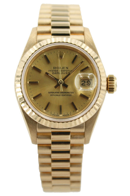 Rolex 18k Yellow Gold  Ladies Datejust President - 26mm - Champagne Stick Dial - Fluted Bezel - Ref. 69178