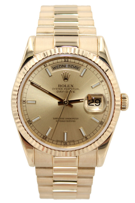 Rolex 18k Yellow Gold Day-Date President - 36mm - Champagne Index Dial - Ref. 118238