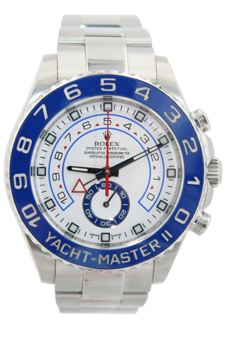 Rolex Stainless Steel Yacht-Master II - 44mm - Ceramic Blue Bezel - White Dial - Ref. 116680