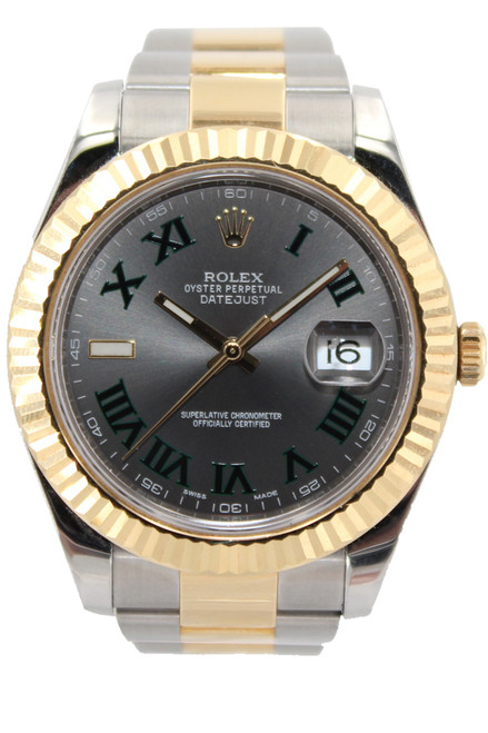 Rolex Two TOne Datejust II - 41mm - Slate Dial with Green Roman - Fluted Bezel - Ref. 116333