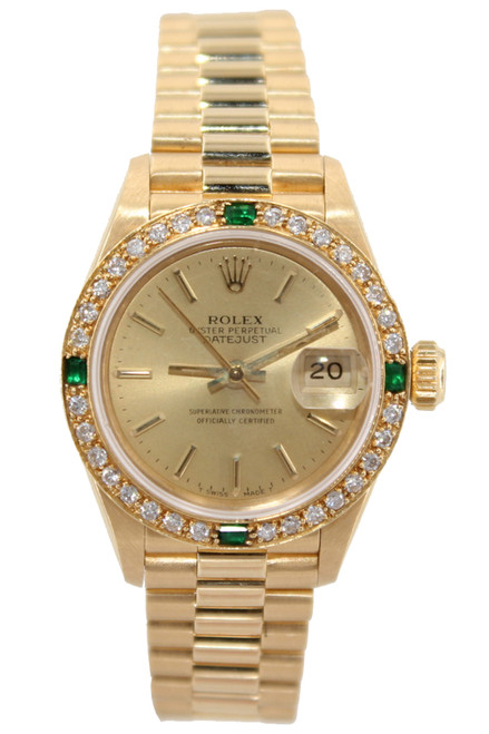 Rolex Oyster Perpetual Lady-Datejust President - 26mm - 18k YG - Champagne Stick Dial - Diamond and Emerald Bezel - Ref. 69178