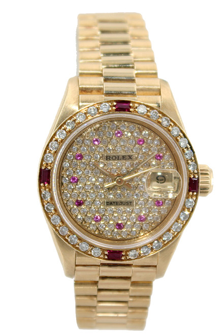 Rolex 18K Yellow Gold Ladies Datejust President - Pave Diamond Dial with Rubies - Diamond Bezel with 4 Rubies - Ref. 179178