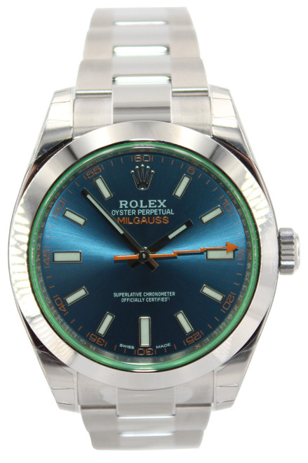 Rolex Stainless Steel Milgauss - 40mm - Blue Dial - Green Crystal - Ref. 116400