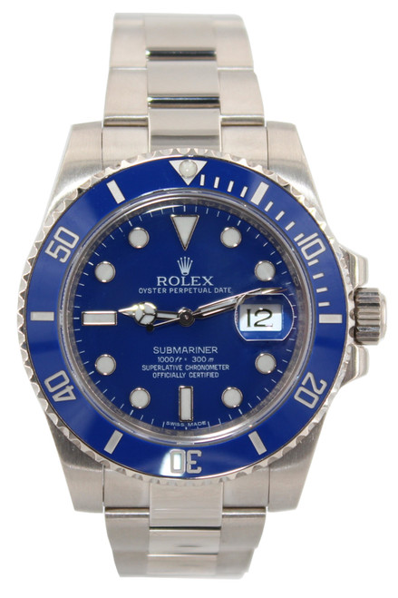 Rolex 18k WG Submariner - 40mm - Blue Ceramic Bezel - Blue Dial - Ref. 116619