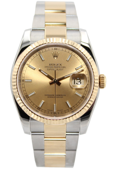 Rolex Two Tone Datejust - 36mm - Champagne Stick Dial - Fluted Bezel - Oyster Band - Ref. 116233