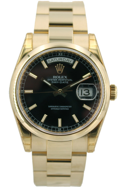 Rolex 18k YG Day Date  President - 36mm - Black Stick Dial - Smooth Bezel - Oyster Bracelet - Ref. 118238