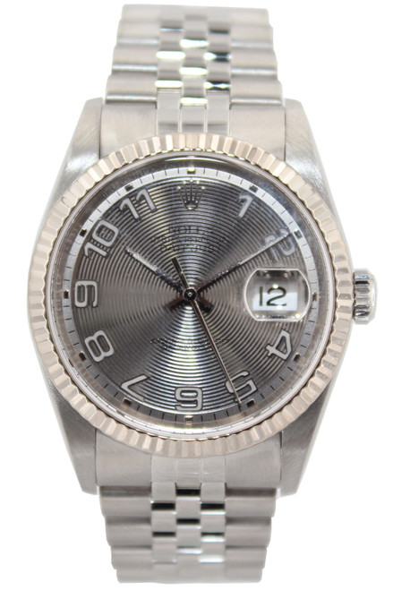 Rolex Stainless Steel Datejust - 36mm - Arabic Dial - Fluted Bezel - Jubilee Band - Ref. 16220