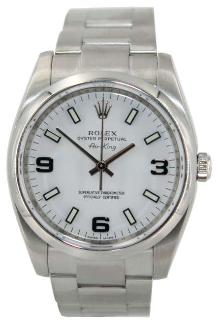 Rolex Stainless Steel AirKing - 34mm -  White Arabic Dial - Smooth Bezel - Ref. 114200
