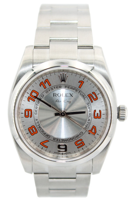 Rolex Stainless Steel AirKing - 34mm - Concentric Silver Dial with Arabic Numerals - Ref. 114200