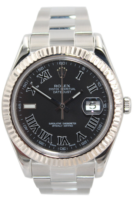 Rolex Stainless Steel Datejust II - 41mm - Black Roman Dial - Fluted Bezel - Ref. 116334