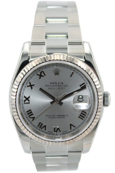 Rolex Stainless Steel Datejust - 36mm - Silver Roman Dial - Fluted Bezel - Ref. 116234