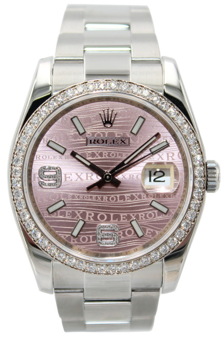 Rolex Stainless Steel Datejust - 36mm - Pink Wave Dial - Diamond Bezel - Oyster Band- Ref. 116244