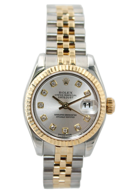 Rolex Two Tone Ladies Datejust - 26mm - Silver Diamond Dial - Fluted Bezel - Jubilee Bracelet - Ref. 179173
