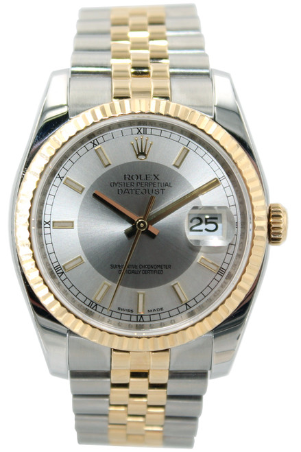 Rolex Two Tone Datejust - 36mm - Steel and Silver Index Dial - Fluted Bezel - Jubilee Bracelet - Ref. 116233
