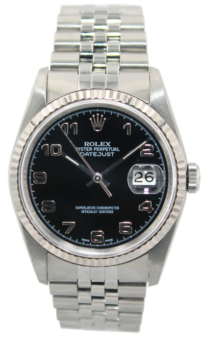 Rolex Stainless Steel Datejust - 36mm - Black Arabic Dial - Fluted Bezel - Jubilee Bracelet - Ref. 16234