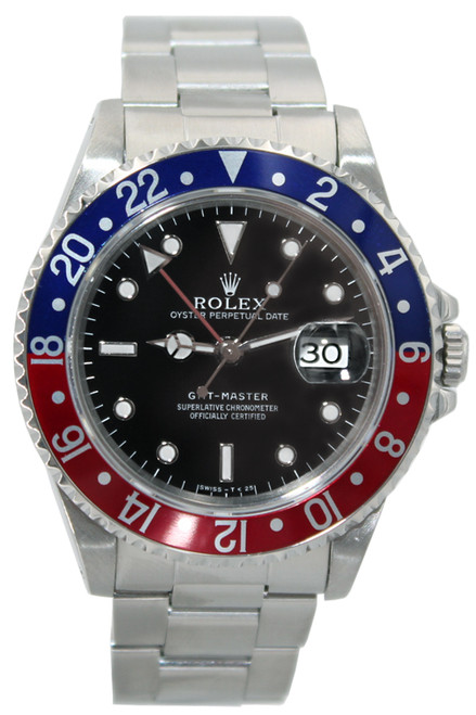 Rolex Stainless Steel GMT Master - 40mm - Blue and Red Bezel - Black Dial - Ref. 16700