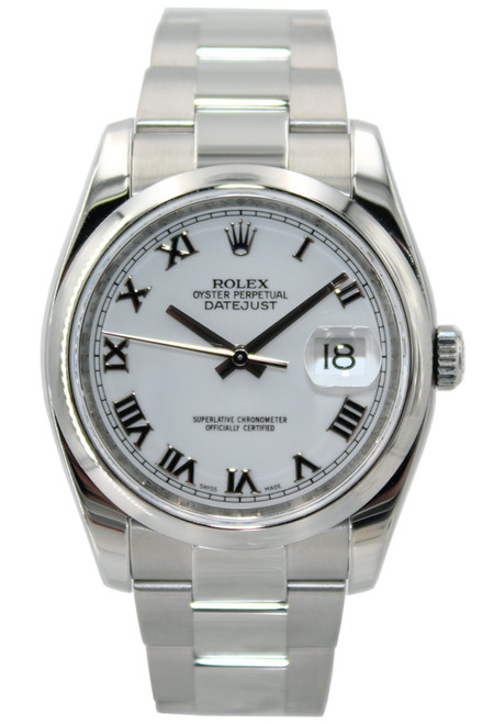 Rolex Stainless Steel Datejust - 36mm - White Roman Dial - Smooth Bezel - Oyster Bracelet - Ref. 116200