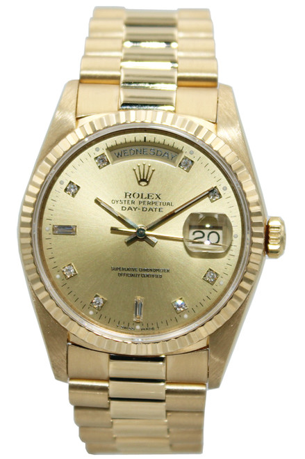 Rolex Oyster Perpetual Day-Date Presidential - 36mm - 18k YG - Champagne Diamond Dial - Ref. 18238