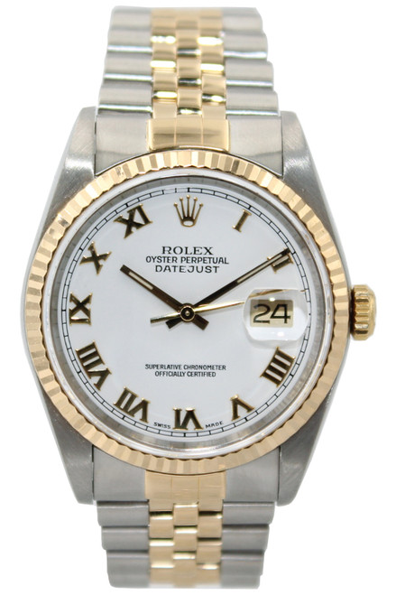 Rolex Oyster Perpetual Datejust - 36mm - Two Tone - White Roman Dial - Fluted Bezel - Jubilee Bracelet - Ref. 16233