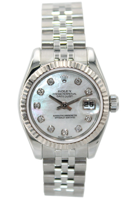 Rolex Oyster Perpetual Lady-Datejust - 26mm - Stainless Steel - Mother of Pearl Diamond Dial - Fluted Bezel - Jubilee Bracelet - Ref. 179174