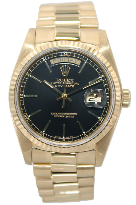 Rolex Oyster Perpetual Day-Date  President - 36mm - 18k YG - Black Index Dial - Fluted Bezel - Ref. 18038