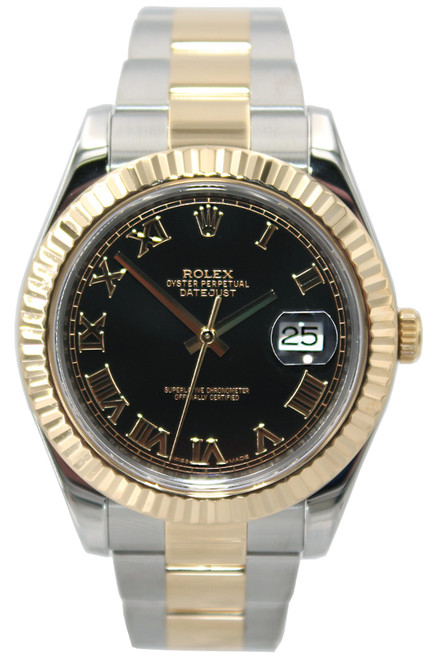 Rolex Oyster Perpetual Datejust II - 41mm - Two Tone - Black Roman Dial - Fluted Bezel - Ref. 116333