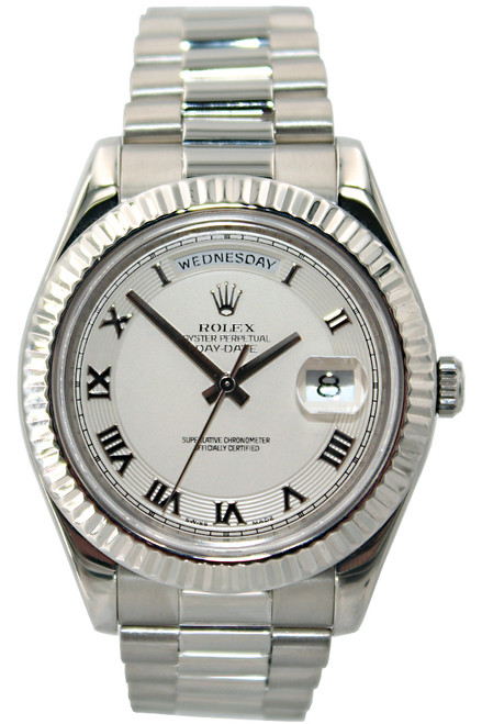Rolex Oyster Perpetual Day-Date II - 41mm - 18k WG- Ivory Roman Dail - Fluted Bezel - Ref. 218239
