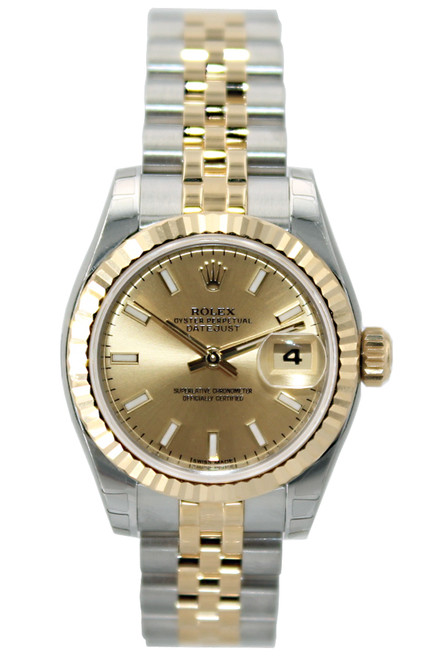 Rolex Oyster Perpetual Lady Datejust - 26mm - Two Tone - Champagne Stick Dial - Fluted Bezel - Jubilee Bracelet - Ref. 179173