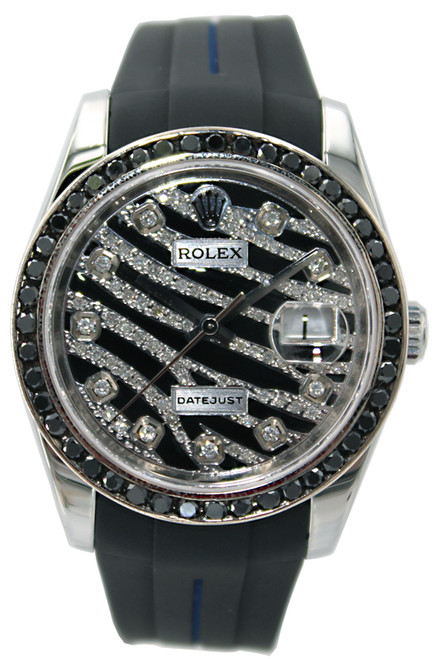 Rolex Oyster Perpetual Datejust - 36mm - Stainless Steel - Black Diamond Bezel - Diamond Zebra Dial - Ref. 116200
