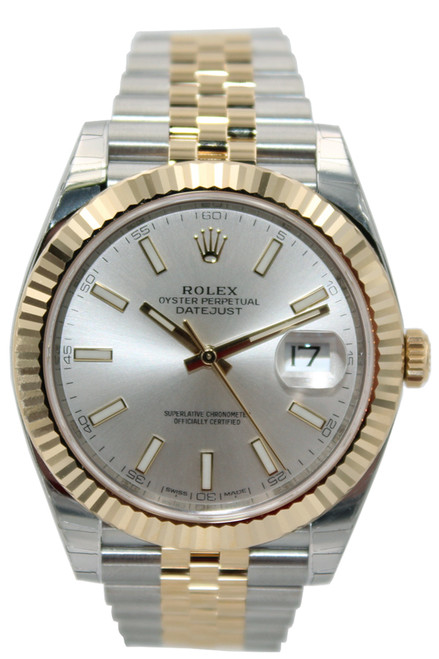 Rolex Oyster Perpetual Datejust 41 - 41mm - Two Tone - Silver Stick Dial - Fluted Bezel - Jubilee Bracelet - Ref. 126333