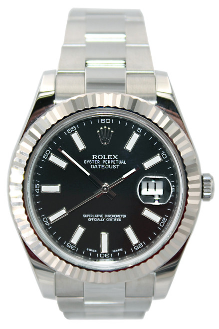 Rolex Oyster Perpetual Datejust II - 41mm - Stainless Steel - WG Fluted Bezel - Black Index Dial - Ref. 116334