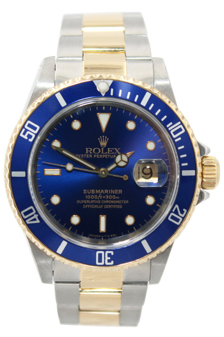 Rolex Oyster Perpetual Submariner Date - 40mm - Two Tone - Blue Dial - Blue Bezel - Ref. 16613 (12817)