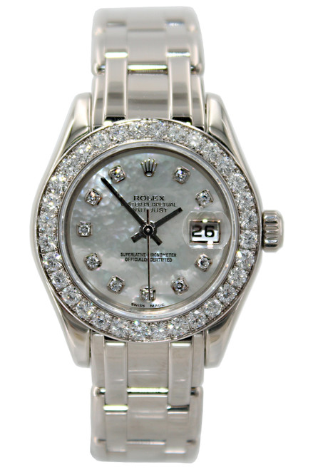 Rolex Masterpiece Oyster Perpetual Lady-Datejust Pearlmaster -18k WG - 29mm -  Mother of Pearl Diamond Dial - Diamond Bezel - Ref. 80299