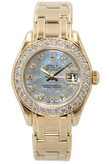 Rolex Masterpiece Oyster Perpetual Lady-Datejust Pearlmaster - 18k YG - Diamond Bezel - MOP Diamond Dial - Ref. 80298