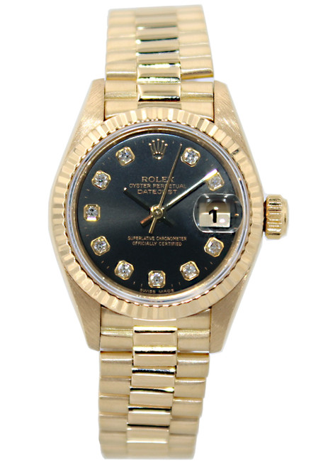 Rolex Oyster Perpetual Lady-Datejust - 26mm - 18k Yellow Gold - Black Diamond Bezel - Fluted Bezel - Ref/ 69178