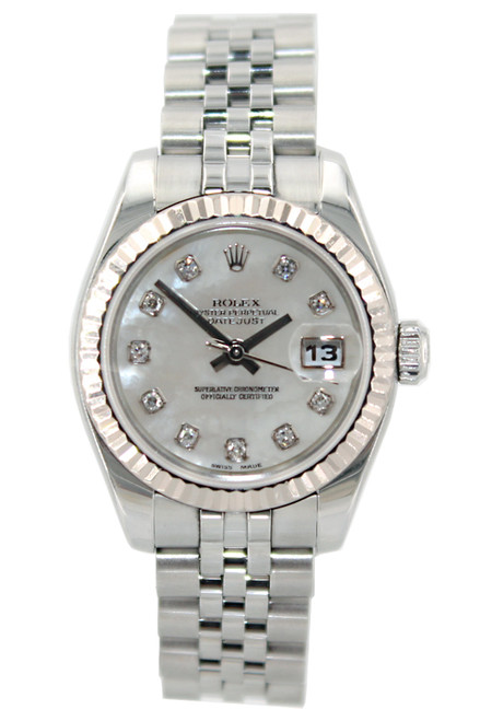 Rolex Oyster Perpetual Lady-Datejust - 26mm - Stainless Steel - Mother of Pearl Diamond Dial - Fluted Bezel - Jubilee Bracelet - Ref. 179174 (Item 12971)