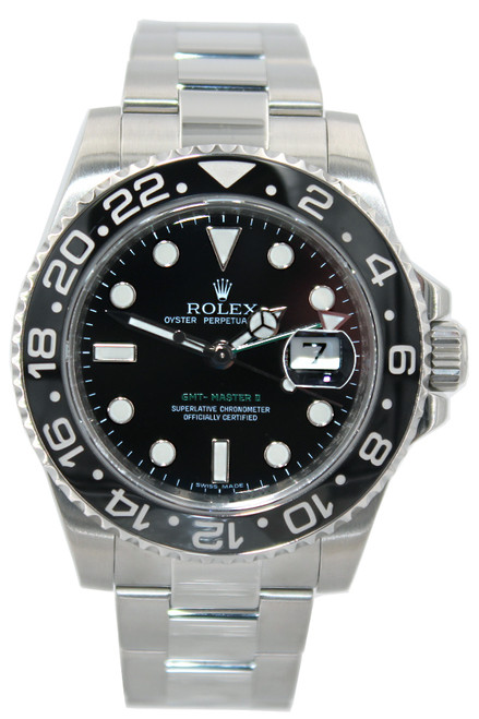 Rolex Oyster Perpetual Date GMT-Master II - 40mm - Stainless Steel - Black Dial - Black Ceramic Bezel - Ref. 116710