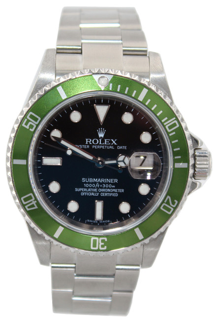 Rolex Oyster Perpetual Submariner Date - 40mm - Stainless Steel - Green Bezel - Black Dial - Ref. 16610