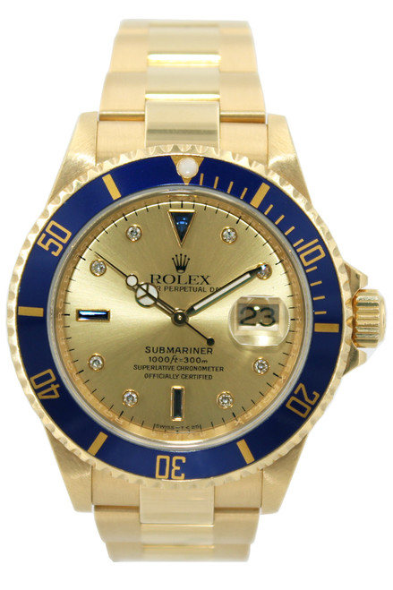 Rolex Oyster Perpetual Submariner Date - 40mm - 18k Yellow Gold - Blue Bezel - Champagne Diamond Dial - Ref. 11618