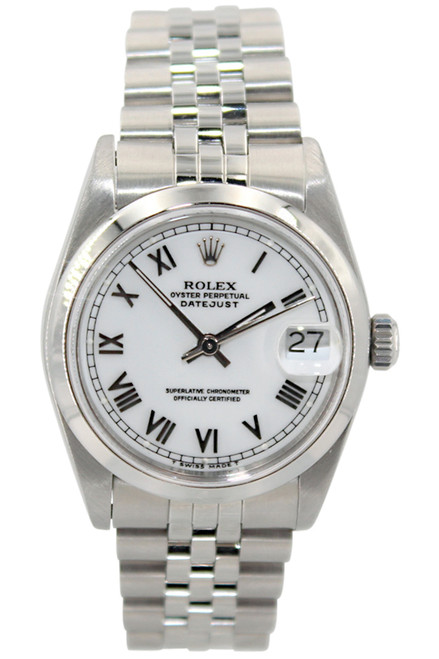 Rolex Oyster Perpetual Datejust - 31mm - Stainless Steel - Smooth Bezel - White Roman Dial - Jubilee Bracelet - Ref. 68240