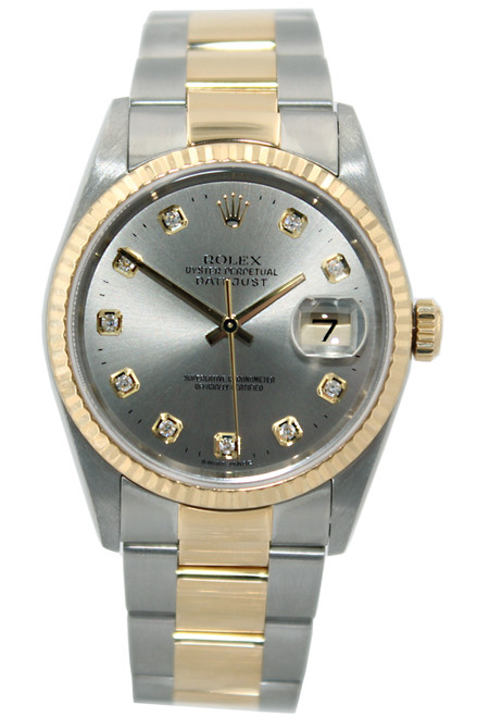 Rolex Oyster Perpetual Datejust - 36mm - Two Tone - Silver Diamond Dial - Fluted Bezel - Oyster Bracelet - Ref. 16203