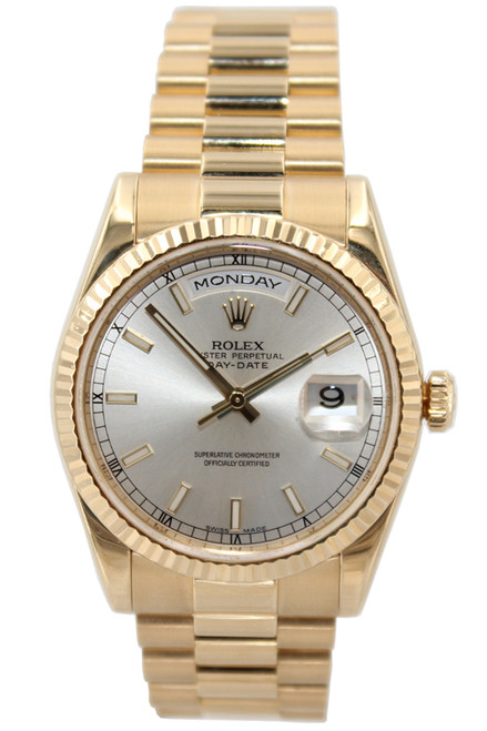 Rolex Oyster Perpetual Day-Date Presidential - 36mm - 18k Yellow Gold - Silver Stick Dial - Ref. 118238