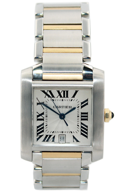 Cartier Tank Francaise - Large Size - Two Tone - Silver Roman Dial - Automatic - Ref. W51005Q4