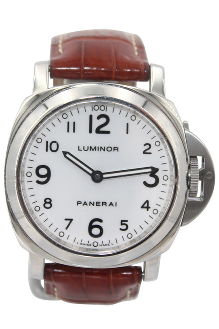 Panerai Luminor - Stainless Steel - White Arabic Dial - Brown Leather Strap - Manual Wind - Ref. Pam 114