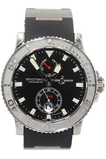 Ulysse Nardin Maxi Marine Diver - 40mm - Stainless Steel - Black Waffle Dial - Black Rubber Strap - Automatic